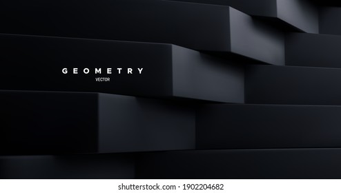 Black architectural background. Abstract geometric backdrop. Vector 3d illustration. Minimalist interior decoration. Brutal geometry. Stepped shapes