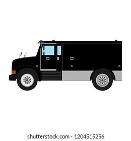 Black armored truck side view. Utility security van vehicle. Vector isolated illustration.
