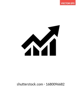 Black arrow growing pointing up on chart graph bars icon, success graph trending upwards flat design interface infographic element for app ui ux web button, eps 10 vector isolated on white background