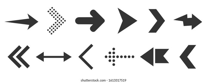 Black arrow icons for web design isolated on white.