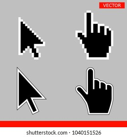 Black arrow and pointer hand cursor icon set. Pixel and modern version of cursors signs. Symbols of direction and touch the links and press the buttons. Isolated on gray background vector illustration