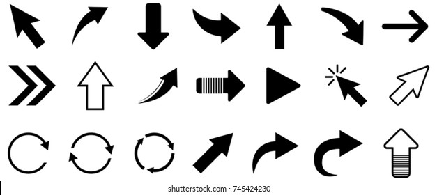 Black arrow vector icon collection on white background