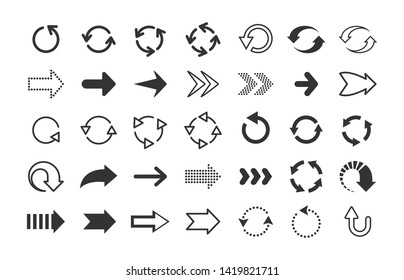 Black arrows. Circle and line direction symbols, flat pointers cursors and next page signs. Vector up down left right refresh motion arrow set