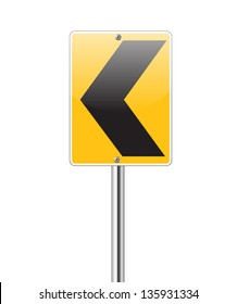 Black arrows on yellow traffic sign pointing left