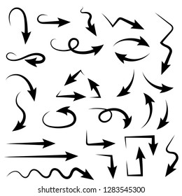 Black arrows. Set of bent sharp icons. Vector illustration isolated on white background