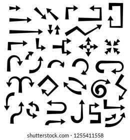 Black arrows set. Flat web icons. Vector illustration isolated on white background