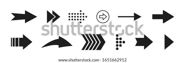 Black arrows set icons vector illustration