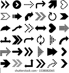 Black arrows that point to different directions
