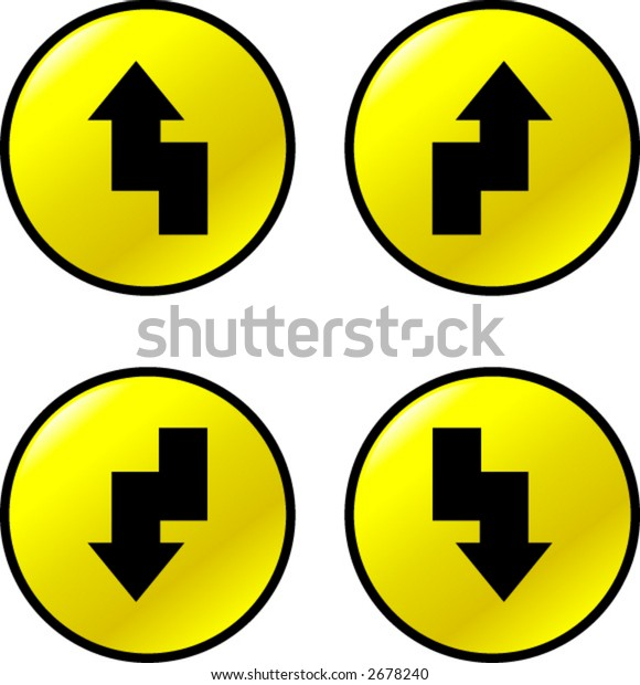 black arrows in yellow round buttons