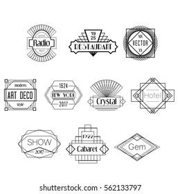Black Art Deco Vector Badges Logos Set