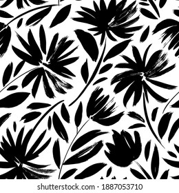 Black aster vector seamless pattern. Hand drawn silhouettes of spring chrysanthemum flowers. Dry brush style floral motives. Black paint illustration with branches and leaves. Monochrome print