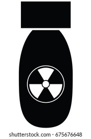 Black atomic or nuclear bomb vector icon