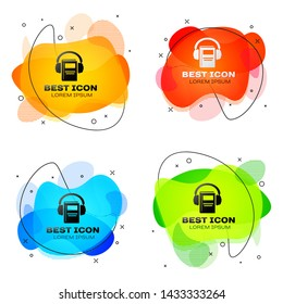 Black Audio book icon isolated on white background. Book with headphones. Audio guide sign. Online learning concept. Set of liquid color abstract geometric shapes. Vector Illustration