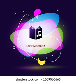 Black Audio book icon isolated on dark blue background. Musical note with book. Audio guide sign. Online learning concept. Abstract banner with liquid shapes. Vector Illustration