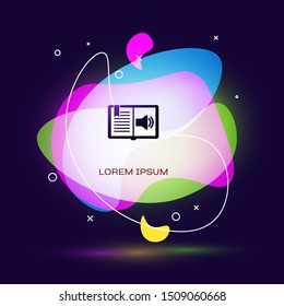 Black Audio book icon isolated on dark blue background. Audio guide sign. Online learning concept. Abstract banner with liquid shapes. Vector Illustration