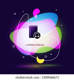 Black Audio book icon isolated on dark blue background. Book with headphones. Audio guide sign. Online learning concept. Abstract banner with liquid shapes. Vector Illustration