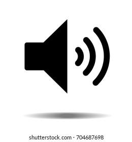 Black audio speaker volume or music speaker volume on line art icon isolated on white backgeound for apps and websites. Vector illustration EPS10