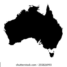 Black Australia map on white background