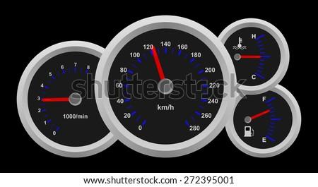 Black Auto Dash Board Speedometer Interface Stock Vector Royalty