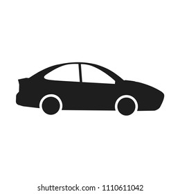 Black auto isolated on white background. Car, automobile icon. Business sedan. Vector flat design