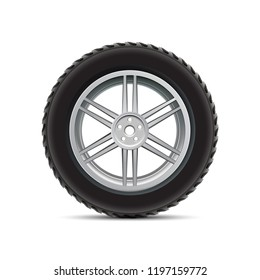 Black auto tire on white background - vector for stock