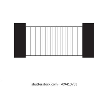 black automatic metal modern gate- vector illustration