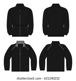 Black autumn, spring fleece jacket set isolated vector front and back for promotion advertising