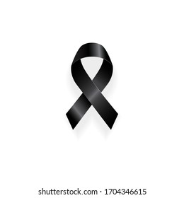 Black awareness ribbon isolated on white background-Mourning and melanoma symbol.Vector Illustration.