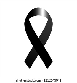 Black awareness ribbon. Mourning and melanoma symbol. Vector graphic illustration.