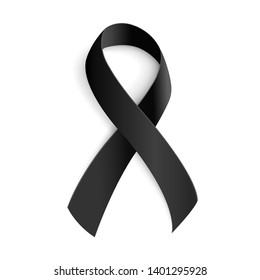 Black awareness ribbon for Mourning and melanoma symbol. All elements on white background. 3d Realistic vector illustration.