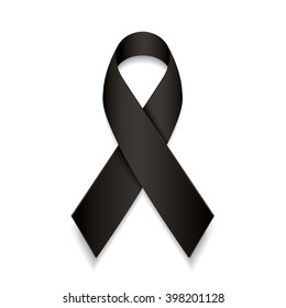 black awareness ribbon. mourning and melanoma symbol