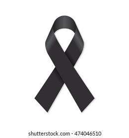 Black awareness ribbon for mourning and Melanoma support symbol.