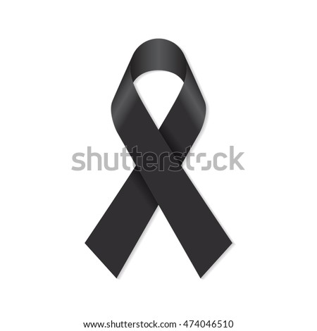 Black Awareness Ribbon Mourning Melanoma Support Stock Vector