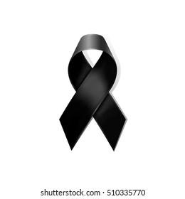 Black awareness ribbon vector on white background. Isolate black awareness bow. Mourning sign and melanoma symbol.
