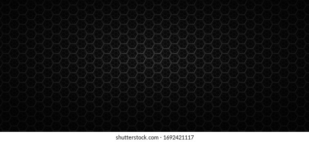 Black backdrop with metal hexagonal wire. Dark background with carbon polygonal net or grid. Futuristic geometric banner template with polygonal cells. Modern monochrome vector illustration.
