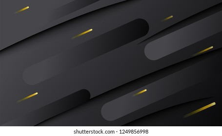 Black background. Abstract dark gradient decoration textured with golden lines pattern. Minimal geometric 3d backdrop. Dynamic shapes composition. Vector illustration.