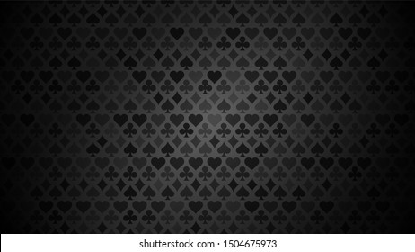 Black background with card suits. Picture spades, hearts, diamonds, clubs. Background for gambling, casino advertising. Vector illustration.