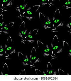 Black background with black cats heads, seamless vector background