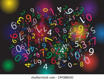 Black background with color figures.