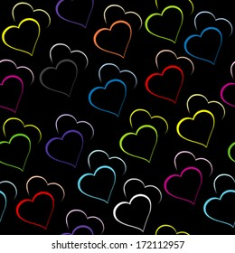 Black background with colored hearts