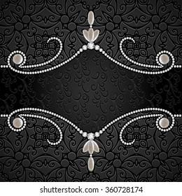 Black background with diamond jewelry border, divider, header, vintage vector jewellery frame