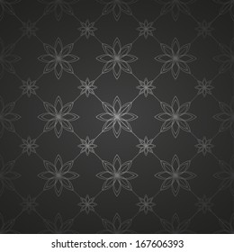 Black background with flowers. Seamless floral pattern. Vector illustration.