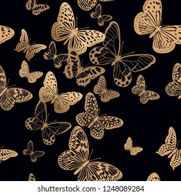 Black background flying butterflies. Luxury decoration gold foil print. Vector illustration. Template for unique textiles, unusual interior decor, trendy clothing, paper, wallpaper. Seamless pattern.
