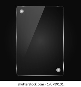black background, the glass frame with rivets