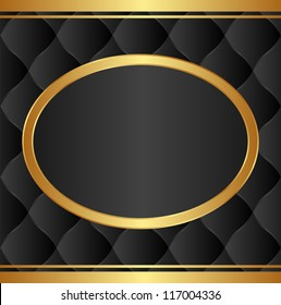black background with gold oval frame