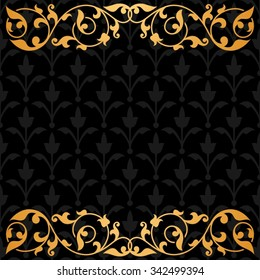Black background with gold vintage ornament.