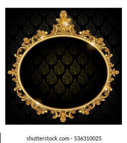 black background with golden frame and transparent space insert for picture.vertor illustration