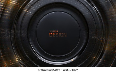 Black background with golden glitters. Abstract geometric background. Circle shaped surface. 3d backdrop. Vector illustration. Elegant cover template.