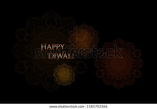 Black Background Hand Drawn Mandalahappy Diwaliinvitation