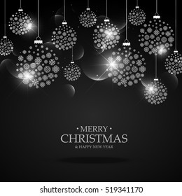 black background with hanging christmas festival balls made with snowflakes